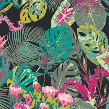 Art Gallery Fabrics Esoterra Tropicalia Dark Floral Flowers Botanical Leaves Katarina Roccella Cotton Fabric