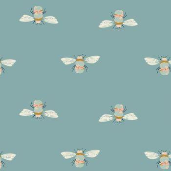 Art Gallery Fabrics Garden Dreamer Bumble Buzz Teal Bumblebee Bee Maureen Cracknell Cotton Fabric