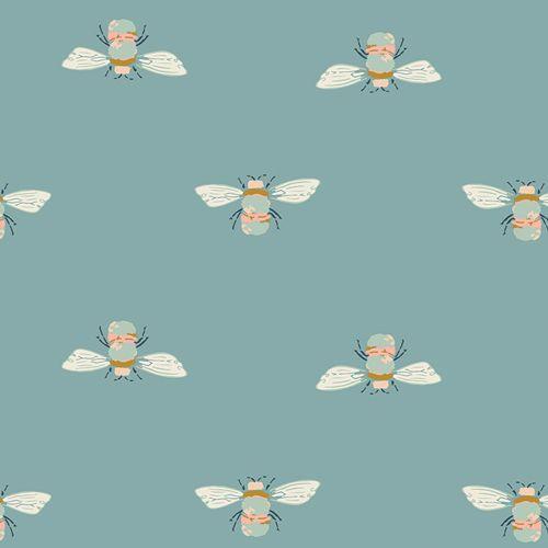 Art Gallery Fabrics Garden Dreamer Bumble Buzz Teal Bumblebee Bee Maureen C