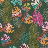 Art Gallery Fabrics Maara Jungle Tour Monstera Leaves Tropical Cheese Plant Leaf Botanical Alexandra Bordallo Cotton Fabric