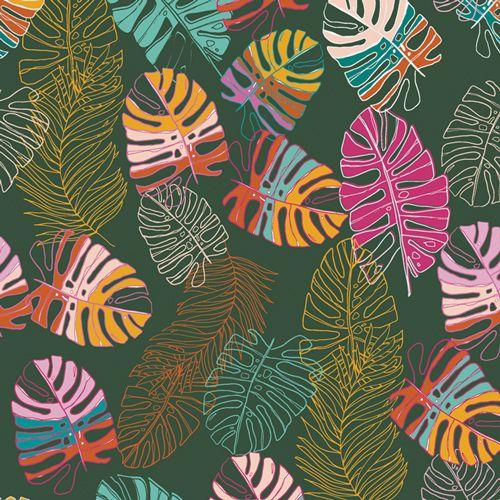 Art Gallery Fabrics Maara Jungle Tour Monstera Leaves Tropical Cheese Plant