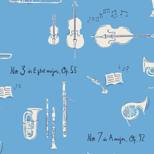Art Gallery Fabrics Sonata Sinfonie Danube Blue Music Musical Instrument Or