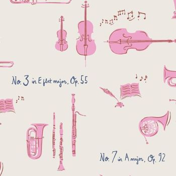 Art Gallery Fabrics Sonata Sinfonie Melody Pink Music Musical Instrument Orchestra Classical Amy Sinibaldi Cotton Fabric