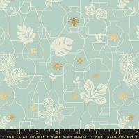 Whatnot Potted Polar Rashida Coleman-Hale Metallic Gold Botanical Leaves Vase Ruby Star Society Cotton Fabric