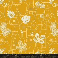 Whatnot Potted Goldenrod Rashida Coleman-Hale Metallic Gold Botanical Leaves Vase Ruby Star Society Cotton Fabric