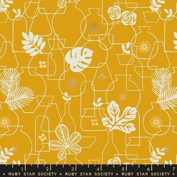Whatnot Potted Goldenrod Rashida Coleman-Hale Metallic Gold Botanical Leaves Vase Ruby Star Society Cotton Fabric