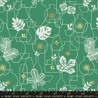 Whatnot Potted Emerald Green Rashida Coleman-Hale Metallic Gold Botanical Leaves Vase Ruby Star Society Cotton Fabric