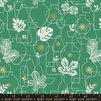 Whatnot Potted Emerald Green Rashida Coleman-Hale Metallic Gold Botanical Leaves Vase Ruby Star Society Cotton Fabric