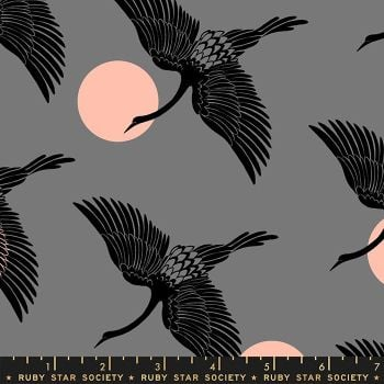 Florida Egrets Slate Grey Sarah Watts Ruby Star Society Cotton Fabric