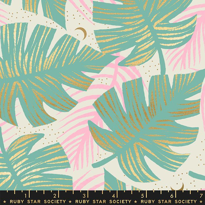 Florida Shade Palms Water Sarah Watts Metallic Gold Ruby Star Society Cotto