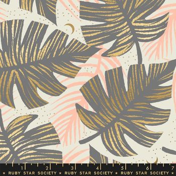 Florida Shade Palms Slate Grey Sarah Watts Metallic Gold Ruby Star Society Cotton Fabric