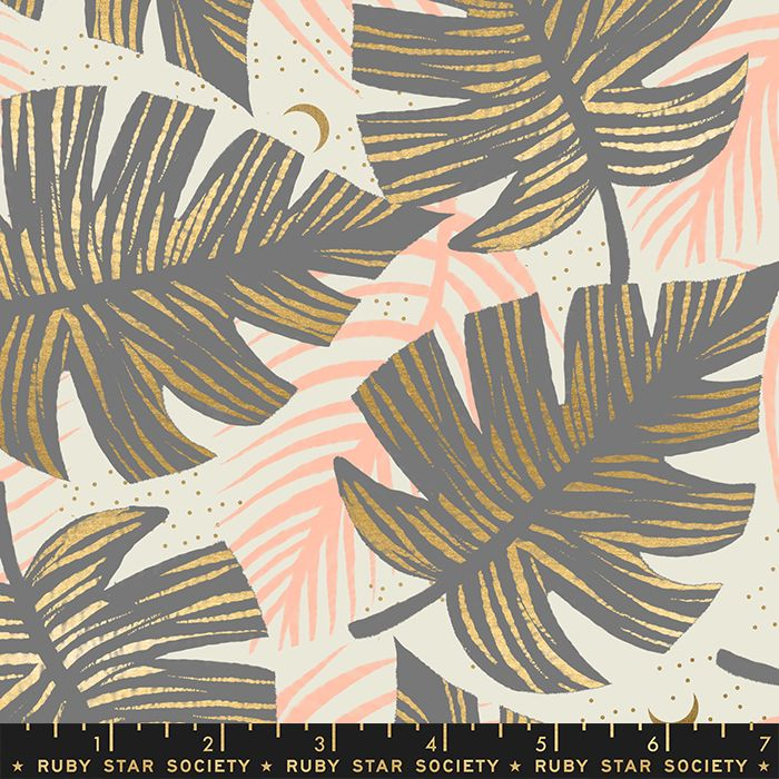 Florida Shade Palms Slate Grey Sarah Watts Metallic Gold Ruby Star Society