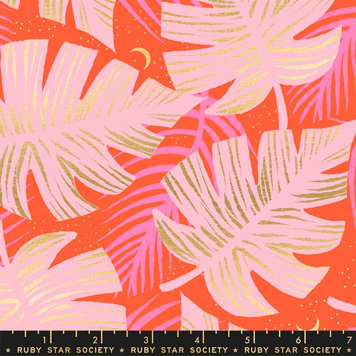 Florida Shade Palms Fire Sarah Watts Metallic Gold Ruby Star Society Cotton