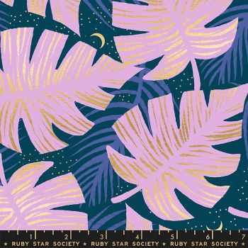 Florida Shade Palms Peacock Sarah Watts Metallic Gold Ruby Star Society Cotton Fabric
