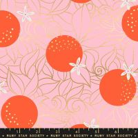 Florida Orange Blossoms Posy Sarah Watts Metallic Gold Ruby Star Society Cotton Fabric