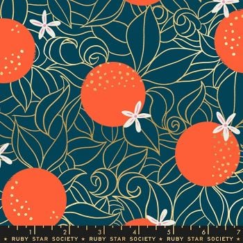 Florida Orange Blossoms Peacock Sarah Watts Metallic Gold Ruby Star Society Cotton Fabric