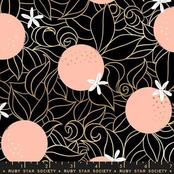 Florida Orange Blossoms Black Sarah Watts Metallic Gold Ruby Star Society Cotton Fabric