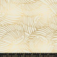Florida Wild Wings Shell Sarah Watts Metallic Gold Ruby Star Society Cotton Fabric