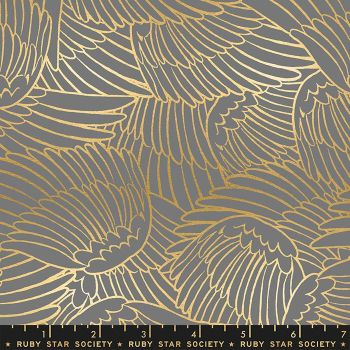 Florida Wild Wings Slate Grey Sarah Watts Metallic Gold Ruby Star Society Cotton Fabric