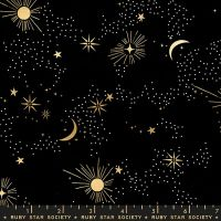 Florida Cosmos Black Sarah Watts Night Sky Metallic Gold Ruby Star Society Cotton Fabric