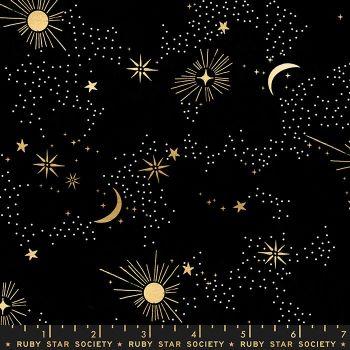 Florida Cosmos Black Sarah Watts Night Sky Metallic Gold Ruby Star Society Cotton Fabric