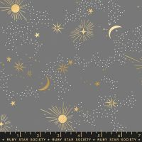 Florida Cosmos Slate Grey Sarah Watts Night Sky Metallic Gold Ruby Star Society Cotton Fabric