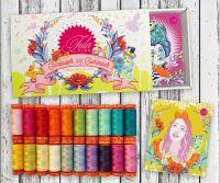 PRE-ORDER Tula Pink Curiouser and Curiouser Collection Aurifil Cotton Thread 20 Small 200m Spool Box