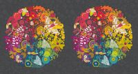 """Alison Glass Art Theory Grand Circle Night 24"""" Panel A9697C Large Floral Butterfly Botanical Rainbow Cotton Fabric"""