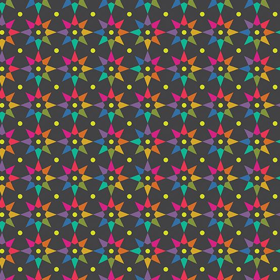 Art Theory Rainbow Star Night Alison Glass A9703-C Cotton Fabric