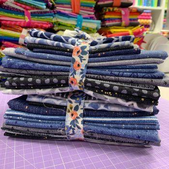 Andover All Stars Libs Elliott Almost Blue DESTASH Stash Starter Bundle Cotton Fabric Stash Stack