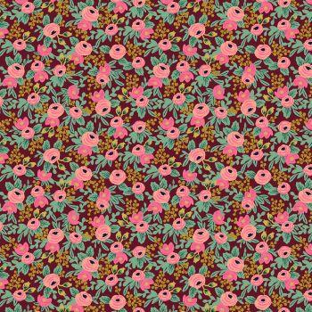 Rifle Paper Co. Garden Party 2021 Rosa Burgundy Metallic Gold Floral Botanical Cotton Fabric