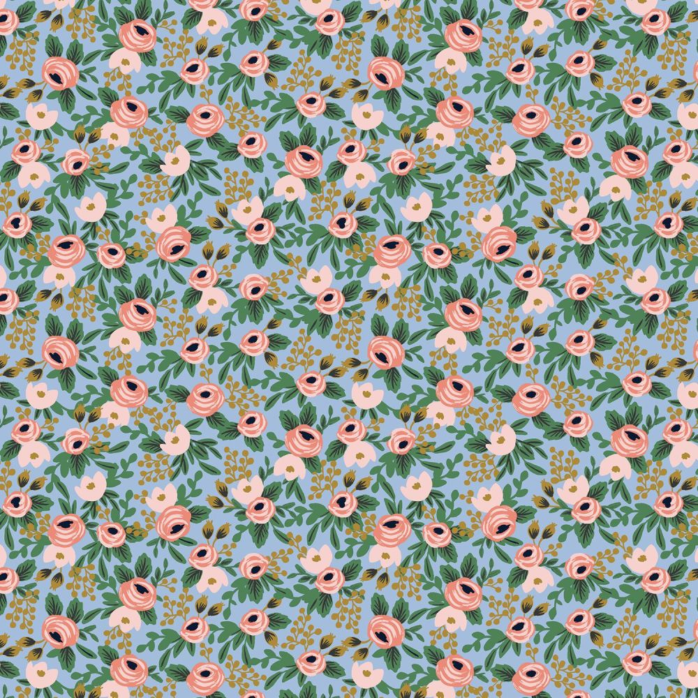 Rifle Paper Co. Garden Party 2021 Rosa Chambray Metallic Gold Floral Botani