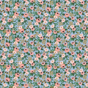 Rifle Paper Co. Garden Party 2021 Rosa Chambray Metallic Gold Floral Botanical Cotton Fabric