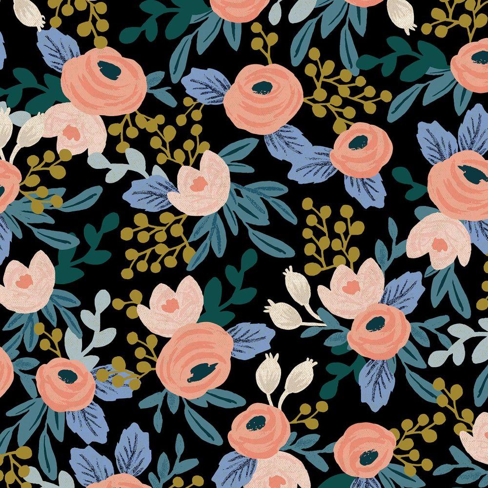Rifle Paper Co Garden Party 2021 Rosa Black Floral Botanical Cotton Linen C