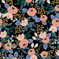 Rifle Paper Co Garden Party 2021 Rosa Black Floral Botanical Cotton Linen Canvas Fabric