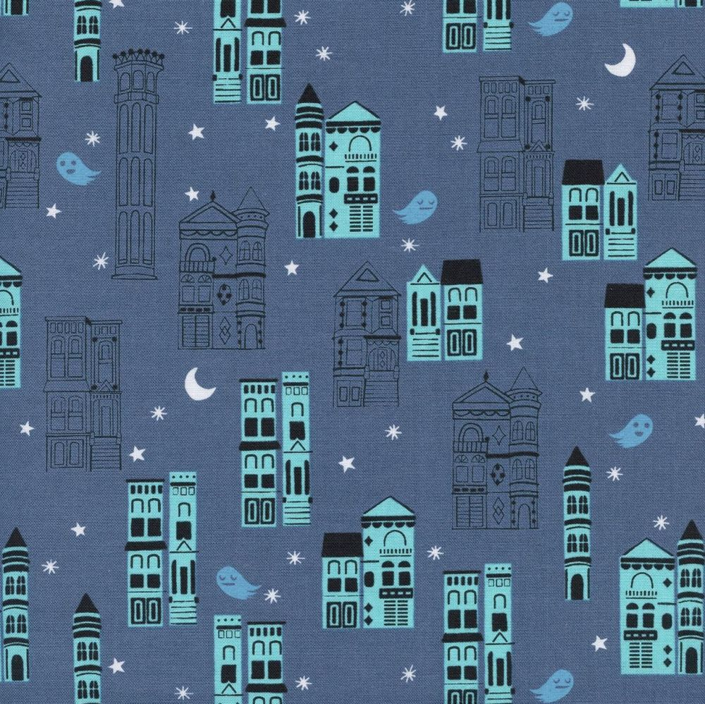 Rare OOP Eclipse Haunted City Gray Ghost Architecture Halloween Cotton + St