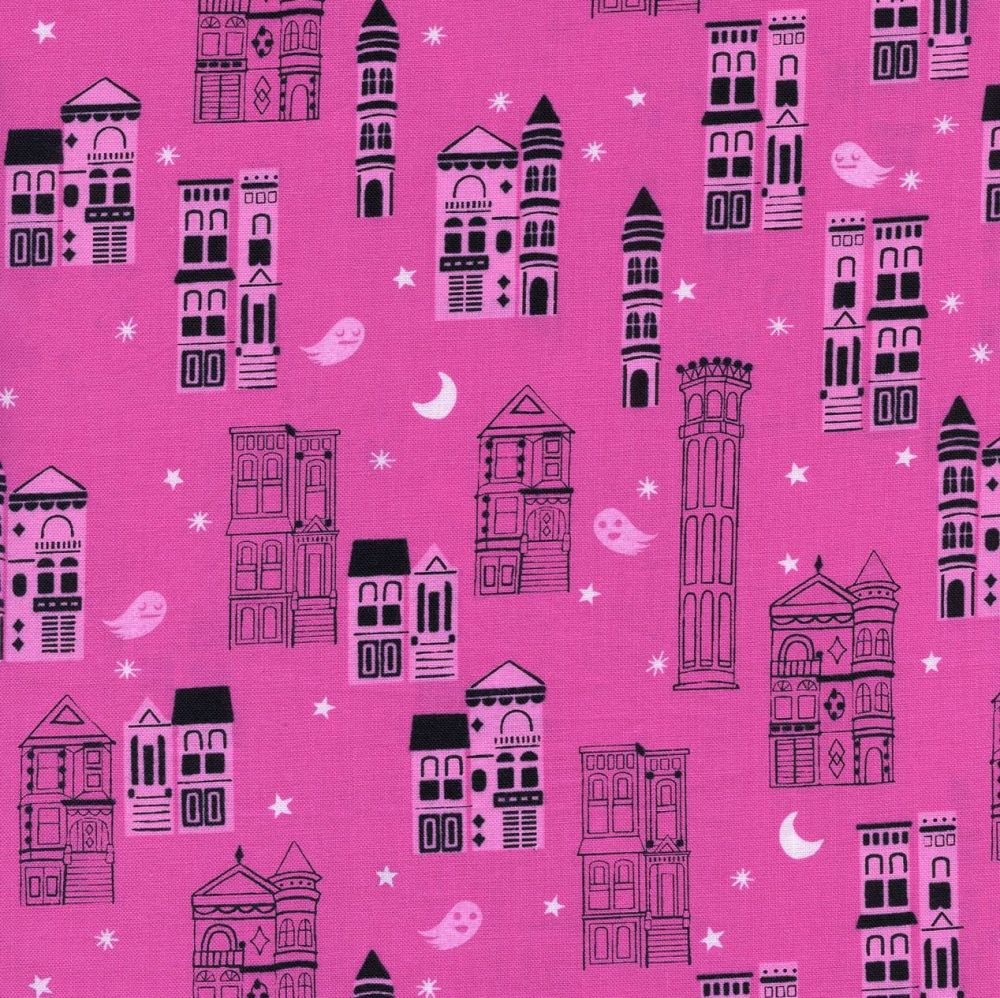 Rare OOP Eclipse Haunted City Pink Ghost Architecture Halloween Cotton + St