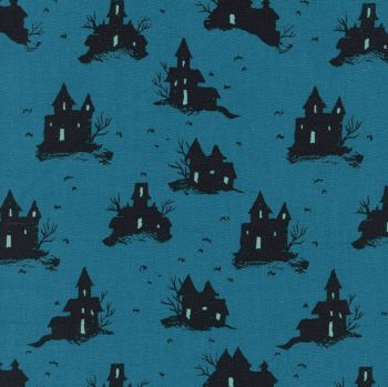 Rare OOP Lil' Monsters Trick or Treat Teal Haunted House Halloween Spooky Cotton Fabric