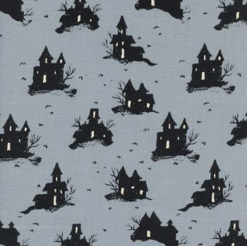 Rare OOP Lil' Monsters Trick or Treat Grey Haunted House Halloween Spooky Cotton Fabric