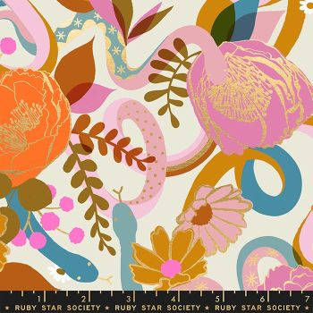 Rise Dream Shell Floral Metallic Gold Snake Botanical Ruby Star Society Melody Miller Cotton Fabric