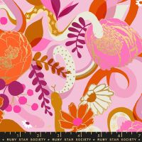Rise Dream Peony Floral Metallic Gold Snake Botanical Ruby Star Society Melody Miller Cotton Fabric