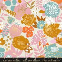 Rise Grow Shell Floral Metallic Gold Flowers Botanical Ruby Star Society Melody Miller Cotton Fabric