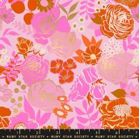 Rise Grow Peony Floral Metallic Gold Flowers Botanical Ruby Star Society Melody Miller Cotton Fabric