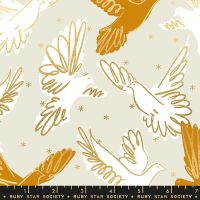 Rise Fly Shell Bird Metallic Gold Doves Ruby Star Society Melody Miller Cotton Fabric