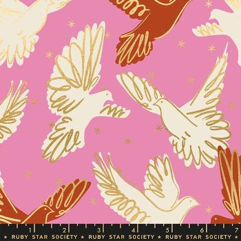 Rise Fly Kiss Bird Metallic Gold Doves Ruby Star Society Melody Miller Cotton Fabric