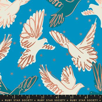 Rise Fly Bright Blue Bird Metallic Gold Doves Ruby Star Society Melody Miller Cotton Fabric