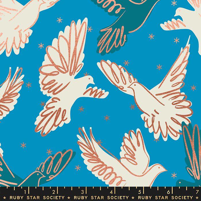Rise Fly Bright Blue Bird Metallic Gold Doves Ruby Star Society Melody Mill