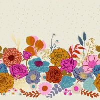 """Rise Shine Shell Floral Double Border 24"""" Panel Floral Metallic Gold Panel Selvedge Ruby Star Society Melody Miller Cotton Fabric for Dressmaking"""