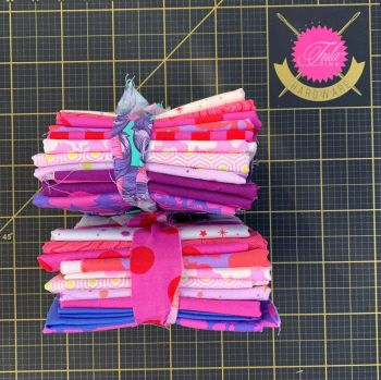 Limit 1 per customer. DESTASH Tula Pink Stash Starter Bundle True Colors Pinks and Purples Cotton Fabric Stash Stack