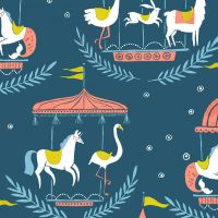 Seaside Carnival Merry Go Round Moonlight Carousel Animal Giraffe Llama Flamingo Cotton Fabric